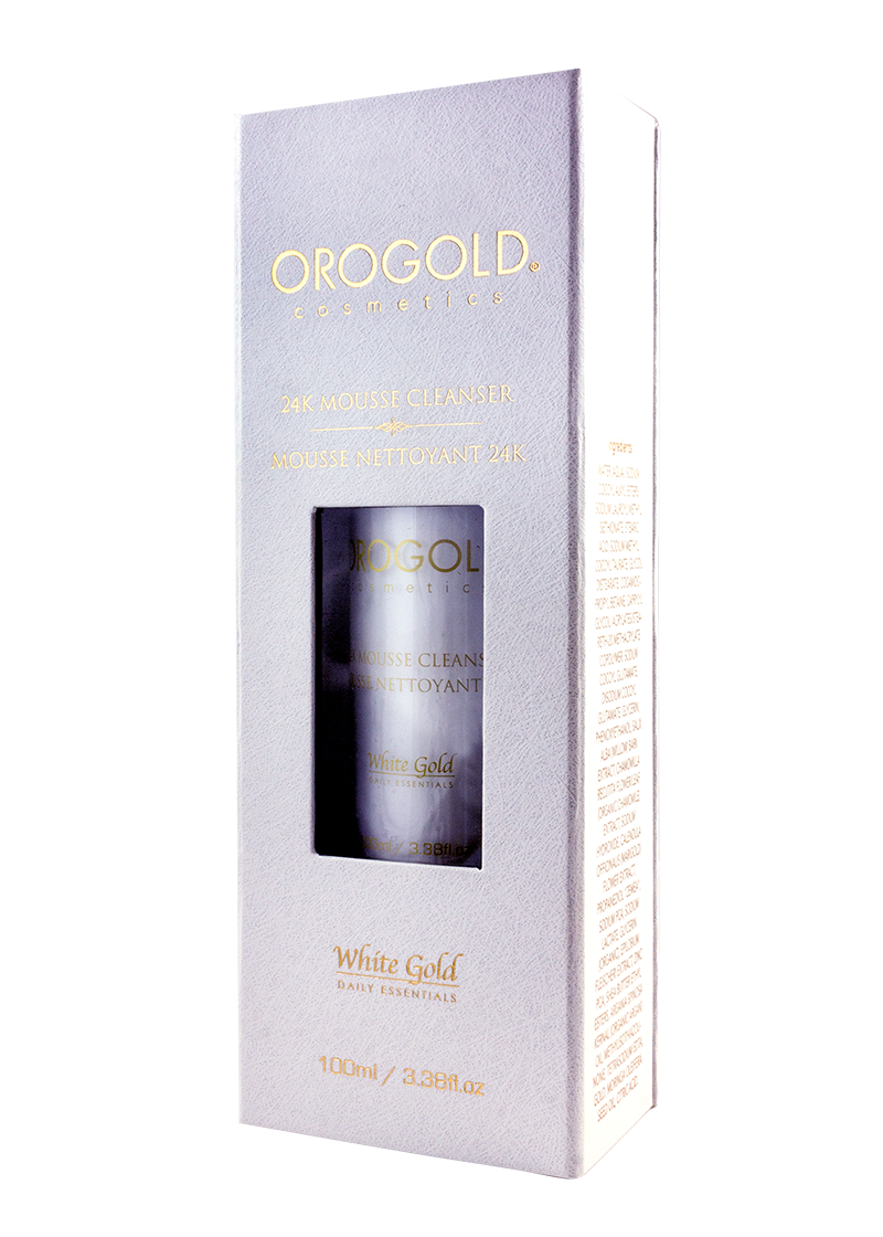 OROGOLD White Gold 24K Mousse Cleanser in its case