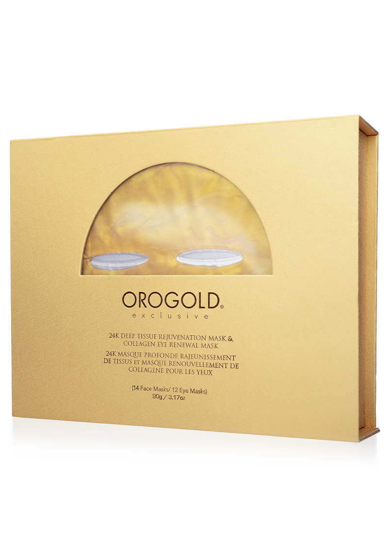 OROGOLD Exclusive 24K Deep Tissue Rejuvenation Mask and Collagen Eye Renewal Mask box