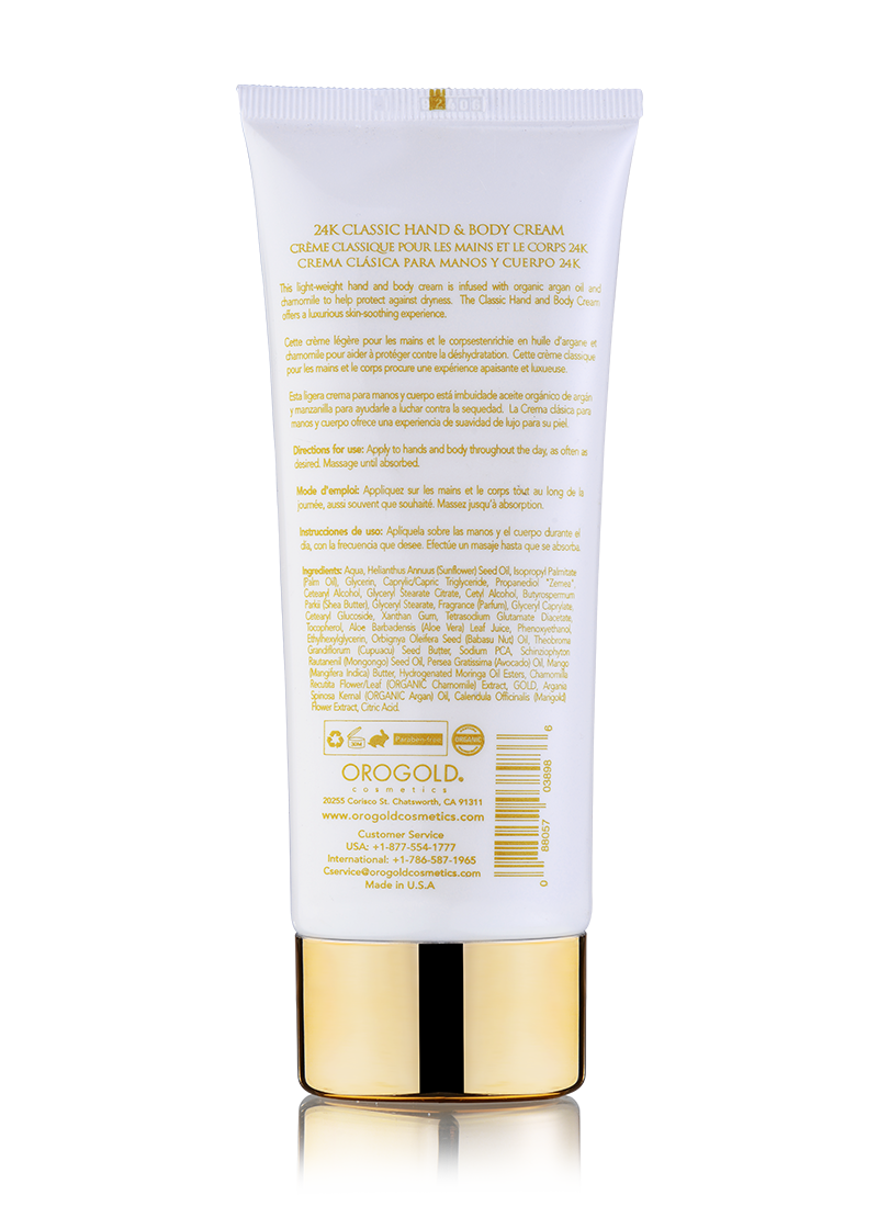 OROGOLD White Gold 24K Classic Hand and Body Cream Back