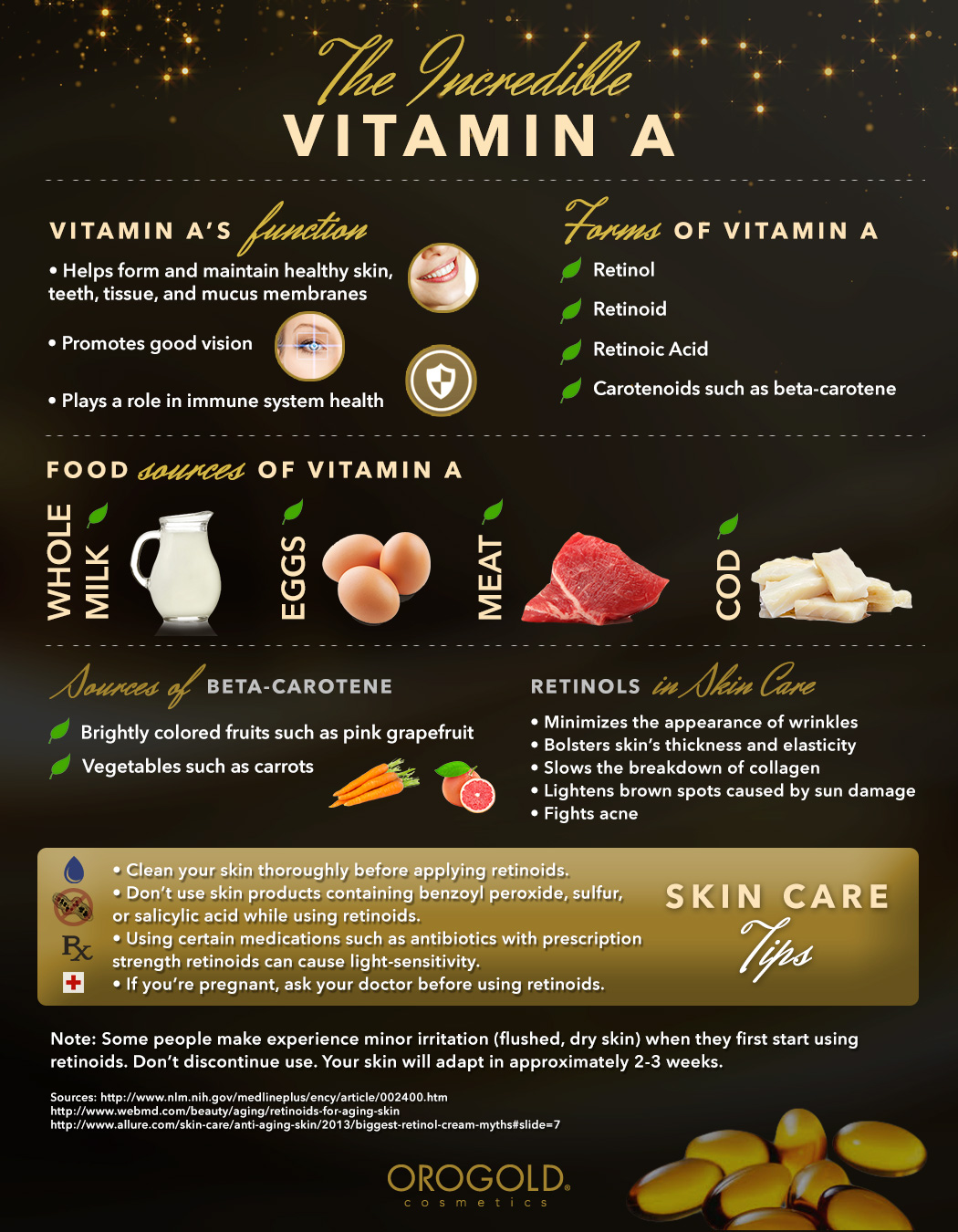 OROGOLD's vitamin A infographic