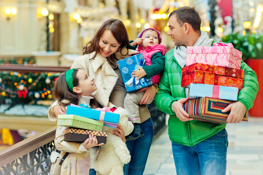family Christmas shopping