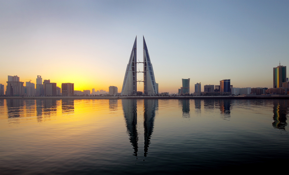 Sunset View of Bahrain in front of body of water