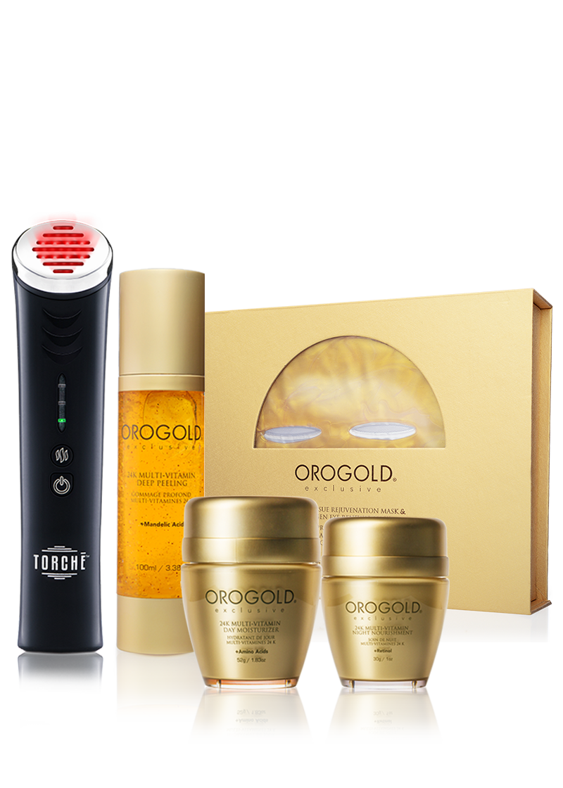 Orogold Exclusive 24K Multi-Vitamin collection V2, 4 products with a torche