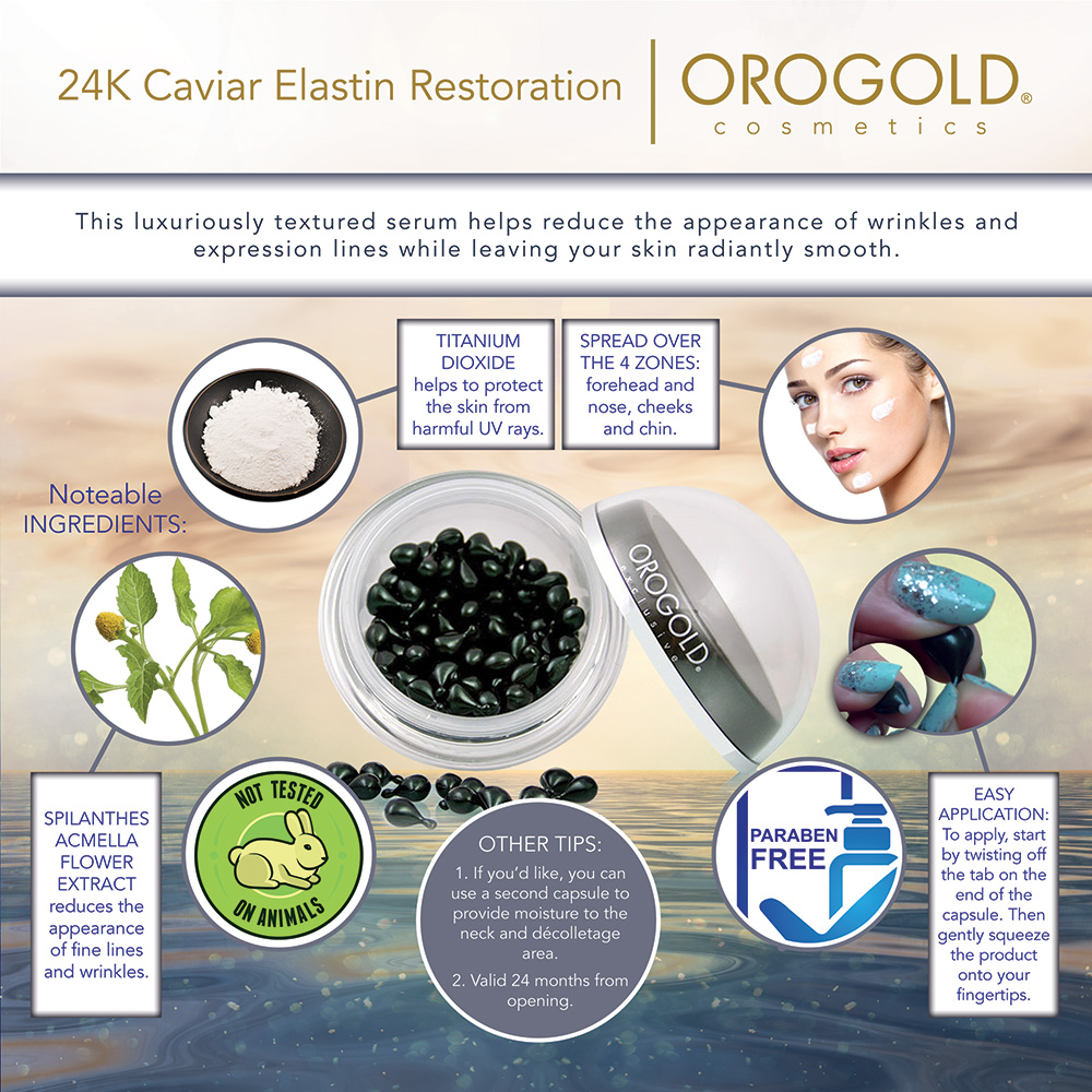 Caviar Elastin Restoration Infographic with ingredient info and tips