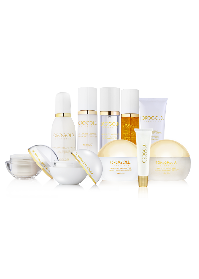 orogold white gold collection with 10 products