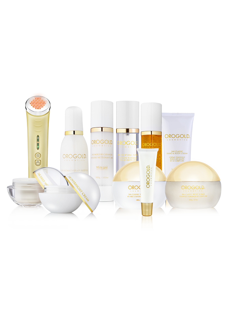 white gold collection, 10 products and jelessi torche amber