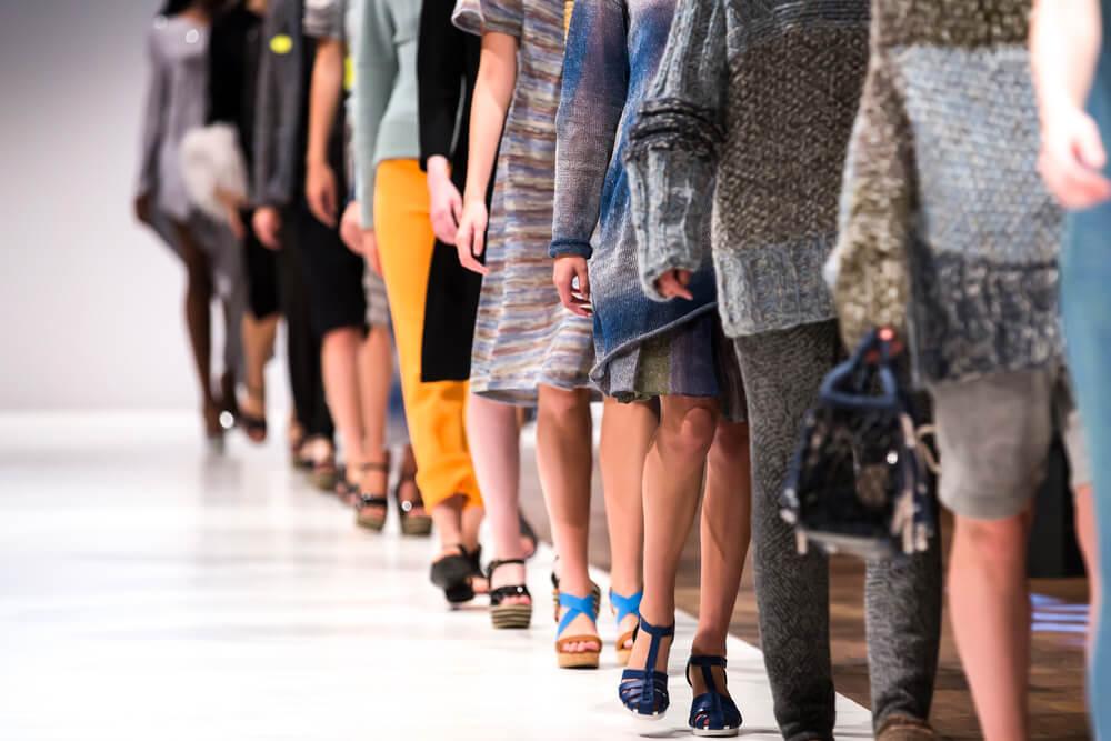 Legs on fashion runway
