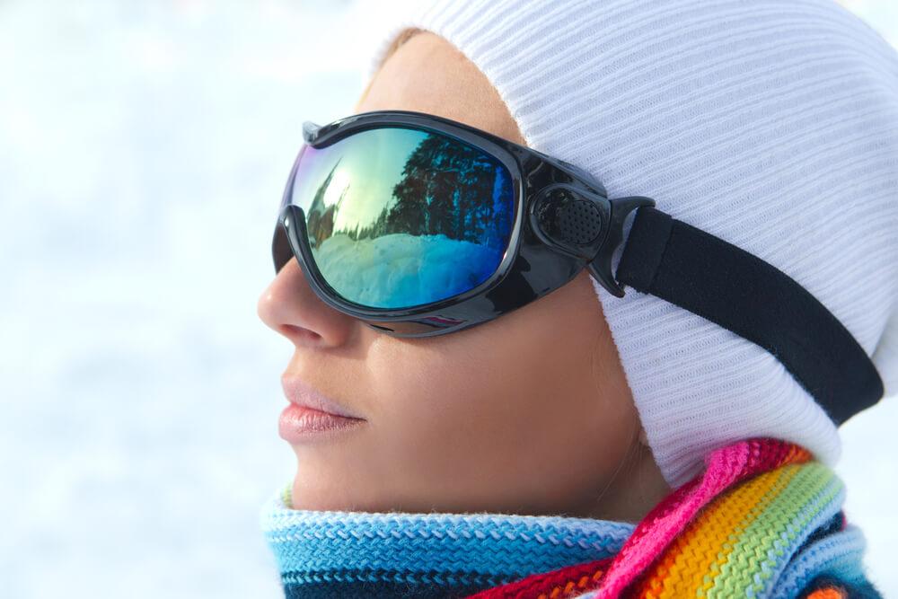 Woman wearing ski goggles